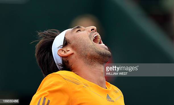 Marcos Baghdatis of Cyprus reacts during his loss to Tomas Berdych of the Czech Republic in the 3rd and 4th playoff match at the Kooyong Classic in...
