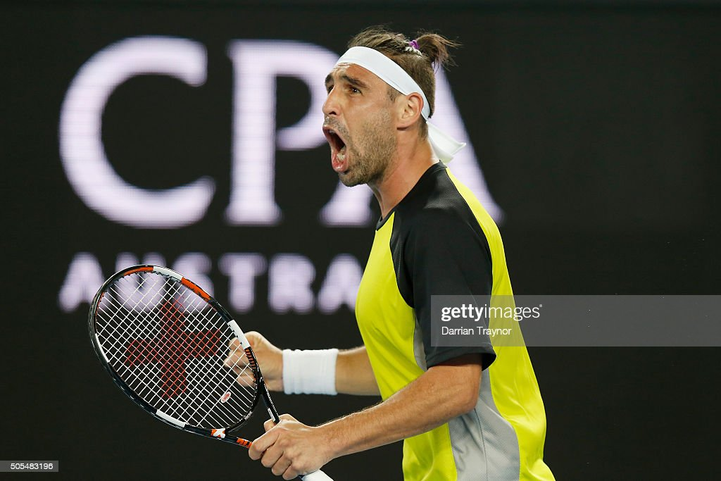 <a gi-track='captionPersonalityLinkClicked' href=/galleries/search?phrase=Marcos+Baghdatis&family=editorial&specificpeople=226943 ng-click='$event.stopPropagation()'>Marcos Baghdatis</a> of Cyprus takes the second set in his first round match against Jo-Wilfried Tsonga of France during day one of the 2016 Australian Open at Melbourne Park on January 18, 2016 in Melbourne, Australia.
