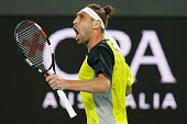 Marcos Baghdatis of Cyprus takes the second set in his first round match against JoWilfried Tsonga of France during day one of the 2016 Australian...