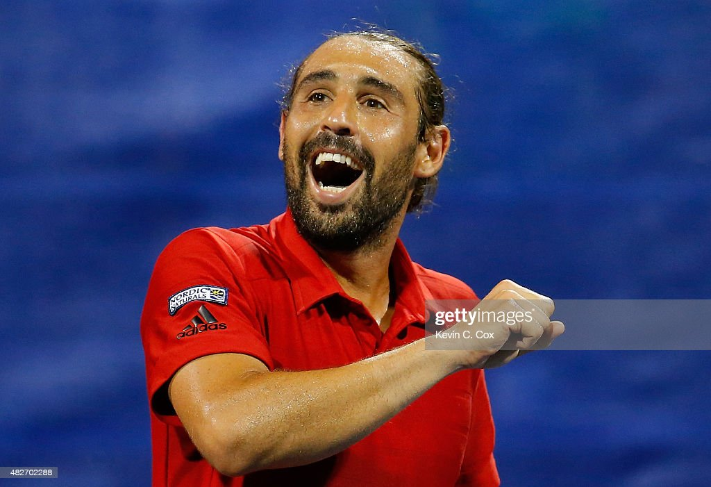 <a gi-track='captionPersonalityLinkClicked' href=/galleries/search?phrase=Marcos+Baghdatis&family=editorial&specificpeople=226943 ng-click='$event.stopPropagation()'>Marcos Baghdatis</a> of Cyrpus reacts after defeating Gilles Muller of Luxembourg during the BB&T Atlanta Open at Atlantic Station on August 1, 2015 in Atlanta, Georgia.