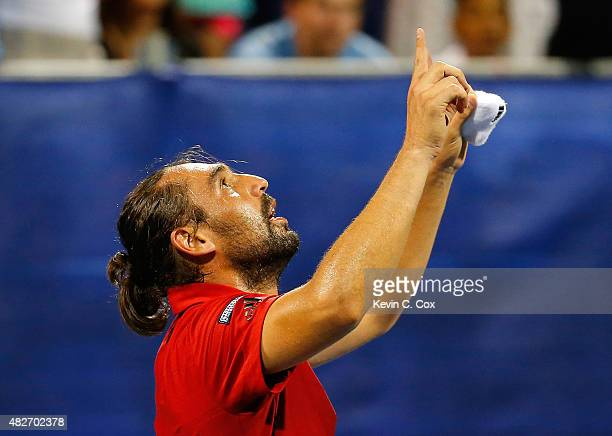 Marcos Baghdatis of Cyrpus reacts after defeating Gilles Muller of Luxembourg during the BBT Atlanta Open at Atlantic Station on August 1 2015 in...
