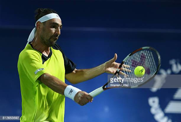 Marcos Baghdatis of Cyrus in action against Stan Wawrinka of Switzerland in the final of the ATP Dubai Duty Free Tennis Championship at the Dubai...