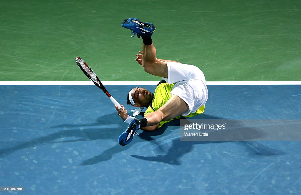 <a gi-track='captionPersonalityLinkClicked' href=/galleries/search?phrase=Marcos+Baghdatis&family=editorial&specificpeople=226943 ng-click='$event.stopPropagation()'>Marcos Baghdatis</a> of Cyrus in action during his semi final match against Feliciano Lopez of Spain on day seven of the ATP Dubai Duty Free Tennis Championship at the Dubai Duty Free Stadium on February 26, 2016 in Dubai, United Arab Emirates.