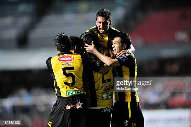 Marcos Barrera of The Strongest celebrate a goal during the match between Sao Paulo and The Strongest as part of Liberdadores Cup of America at...