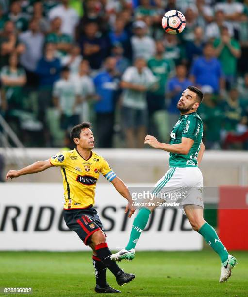 Marcos Caicedo of Barcelona de Guayaquil and Bruno Henrique of Palmeiras in action during the match between Palmeiras and Barcelona de Guayaquil for...
