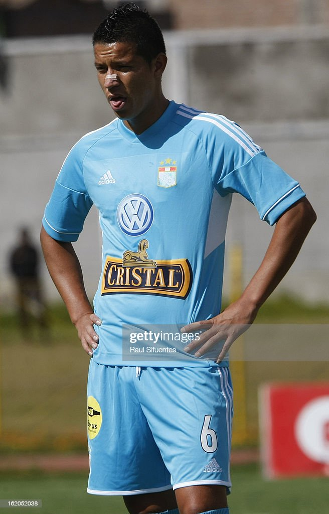 Marcos Delgado of Sporting Cristal during a match between Sport Huancayo and Sporting Cristal as part of The Torneo Descentralizado 2013 at the Huancayo Stadium on February 18, 2013 in Huancayo, Peru