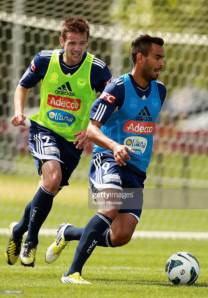 Marcos Flores controls the ball during a Melbourne Victory A-League training session at Gosch's Paddock on November 20, 2012 in Melbourne, Australia.