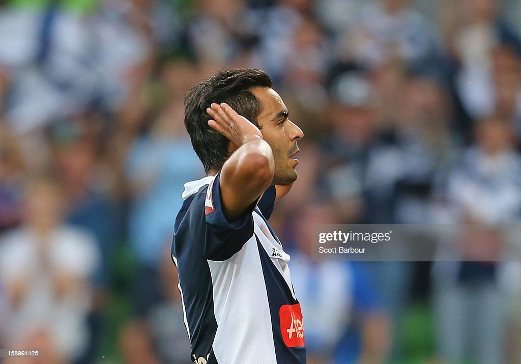 Marcos Flores of the Victory celebrates after scoring the Victorys first goal during the round 15 A-League match between the Melbourne Victory and Wellington Phoenix at AAMI Park on January 5, 2013 in Melbourne, Australia.