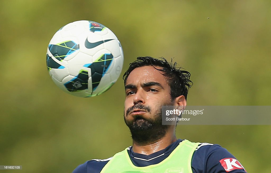Marcos Flores of the Victory controls the ball during a Melbourne Victory A-League training session at Gosch's Paddock on February 14, 2013 in Melbourne, Australia.