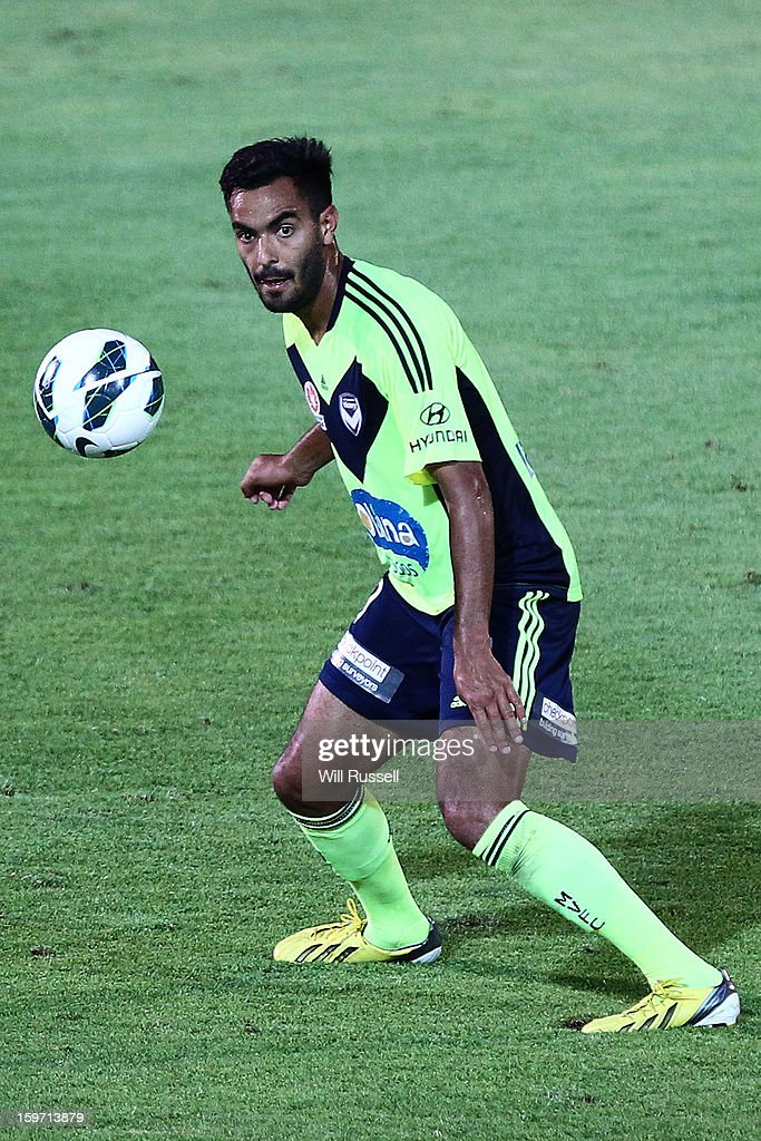 Marcos Flores of the Victory controls the ball during the round 17 A-League match between the Perth Glory and the Melbourne Victory at nib Stadium on January 19, 2013 in Perth, Australia.
