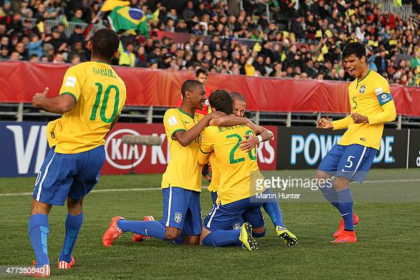 Marcos Guilherme of Brazil celebrates with his team mates after scoring a goal during the FIFA U20 World Cup Semi Final match between Brazil and...