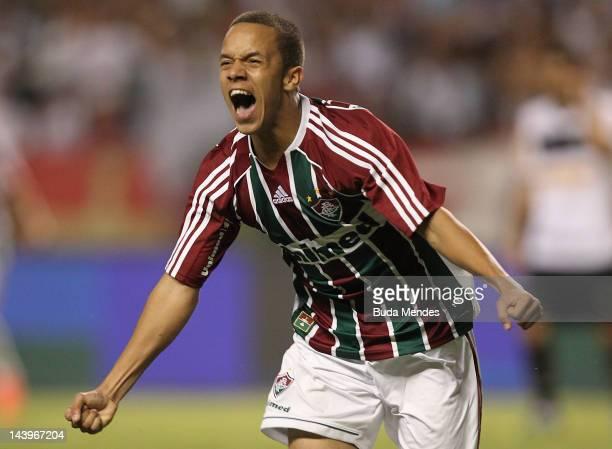 Marcos Jr of Fluminense celebrates a scored goal during the final first leg match between Botafogo v Fluminense as part of Rio de Janeiro State...