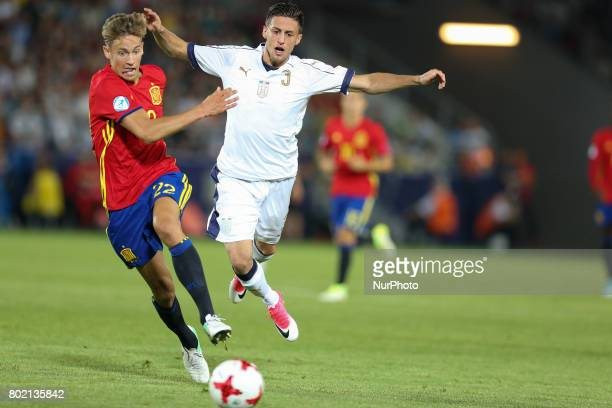 Marcos Llorente Antonio Barreca during the UEFA European Under21 Championship Semi Final match between Spain and Italy at Krakow Stadium on June 27...