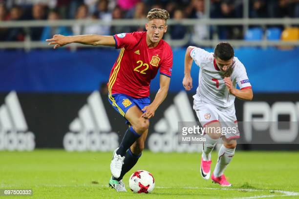 Marcos Llorente Enis Bardi during the UEFA European Under21 match between Spain and FYR Macedonia on June 17 2017 in Gdynia Poland