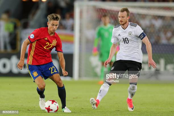 Marcos Llorente Maximilian Arnold during the UEFA U21 Final match between Germany and Spain at Krakow Stadium on June 30 2017 in Krakow Poland