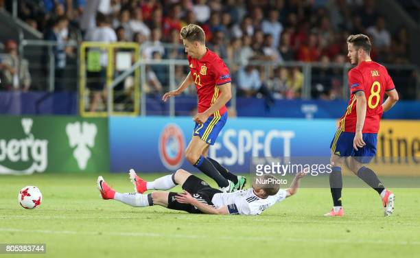 Marcos Llorente Maximilian Arnold Saul Niguez during the UEFA U21 Final match between Germany and Spain at Krakow Stadium on June 30 2017 in Krakow...