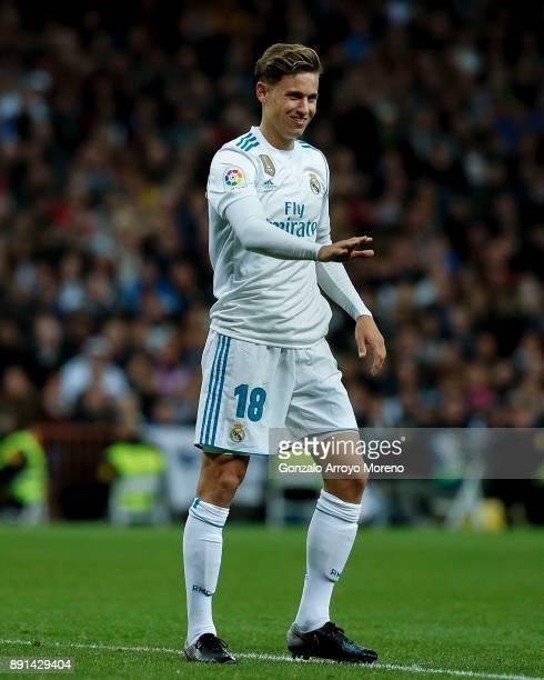 Marcos Llorente of Real Madrid CF gestures during the La Liga match between Real Madrid CF and Sevilla FC at Estadio Santiago Bernabeu on December 9...