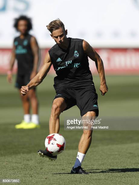 Marcos Llorente of Real Madrid in action during a training session at Valdebebas training ground on August 12 2017 in Madrid Spain