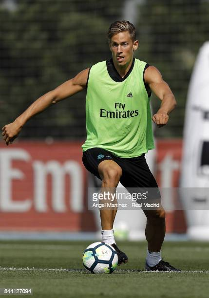 Marcos Llorente of Real Madrid in action during a training session at Valdebebas training ground on September 8 2017 in Madrid Spain