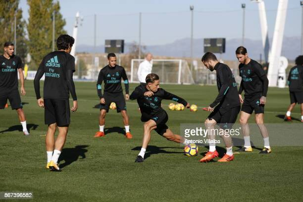 Marcos Llorente of Real Madrid in action during a training session at Valdebebas training ground on October 28 2017 in Madrid Spain