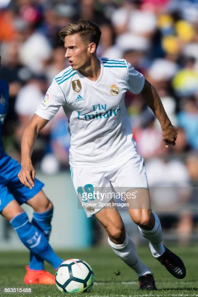 Marcos Llorente of Real Madrid in action during the La Liga 201718 match between Getafe CF and Real Madrid at Coliseum Alfonso Perez on 14 October...