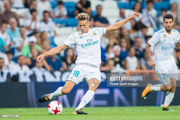 Marcos Llorente of Real Madrid in action during the Santiago Bernabeu Trophy 2017 match between Real Madrid and ACF Fiorentina at the Santiago...