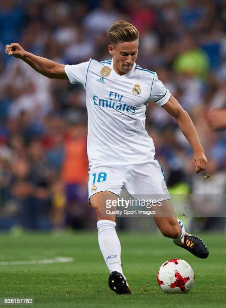 Marcos Llorente of Real Madrid in action during the Trofeo Santiago Bernabeu match between Real Madrid and ACF Fiorentina at Estadio Santiago...