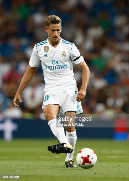Marcos Llorente of Real Madrid in actions during the match Trofeo Santiago Bernabeu between Real Madrid CF and Fiorentina at Santiago Bernabeu...
