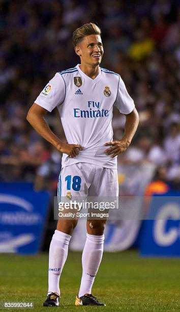 Marcos Llorente of Real Madrid looks on during the La Liga match between Deportivo La Coruna and Real Madrid at Riazor Stadium on August 20 2017 in...