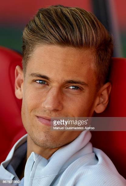 Marcos Llorente of Real Madrid looks on prior to the La Liga match between Girona and Real Madrid at Municipal de Montilivi Stadium on October 29...