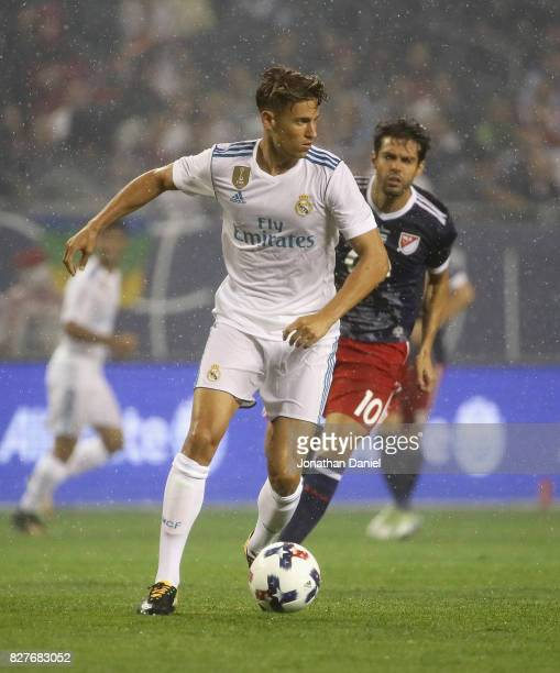 Marcos Llorente of Real Madrid looks to pass in front of Kaka of the MLS AllStars during the 2017 MLS All Star Game at Soldier Field on August 2 2017...