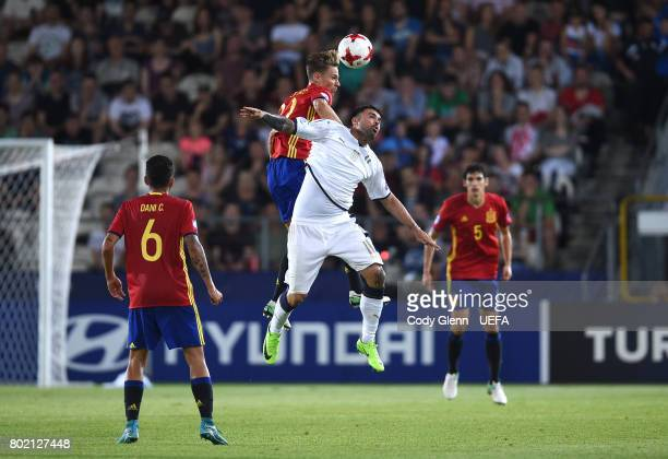 Marcos Llorente of Spain and Andrea Petagna of Italy during their UEFA European Under21 Championship 2017 semifinal match on June 27 2017 in Krakow...