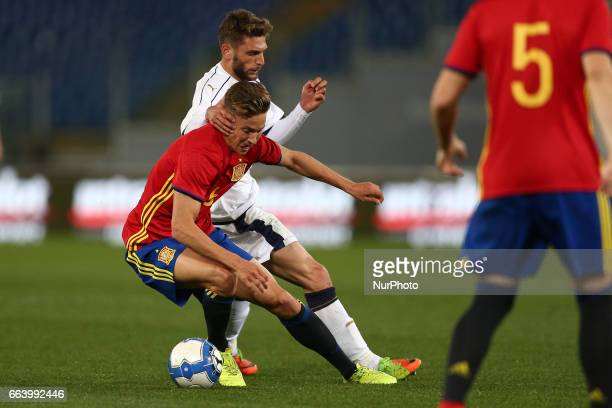 Marcos Llorente of Spain U21 compete for the ball with Domenico Berardi of Italy U21 during the International Friendly Under 21 Italia v Spagna at...
