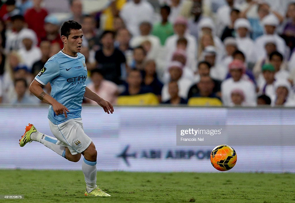 Marcos Lopes of Manchester City in action during the friendly match between Al Ain and Manchester at Hazza bin Zayed Stadium on May 15, 2014 in Al Ain, United Arab Emirates.
