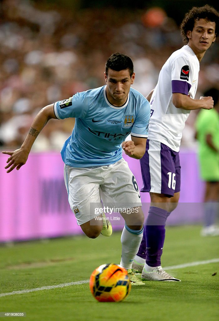 Marcos Lopez of Manchester City in action during the friendly match between Al Ain and Manchester City at Hazza bin Zayed Stadium on May 15, 2014 in Al Ain, United Arab Emirates.