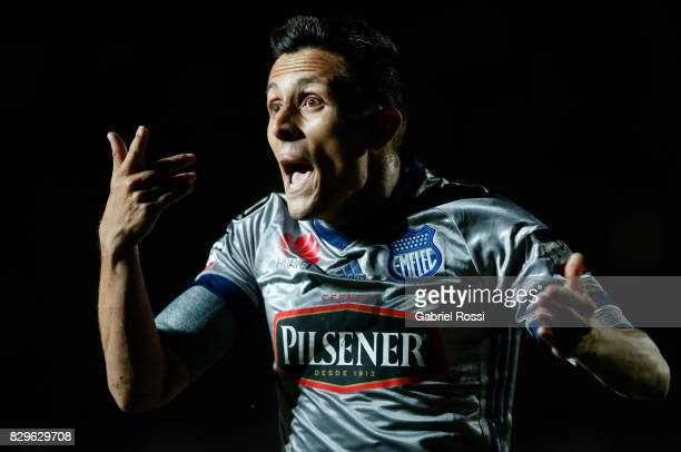 Marcos Mondaini of Emelec reacts during a second leg match between San Lorenzo and Emelec as part of round of 16 of Copa CONMEBOL Libertadores...
