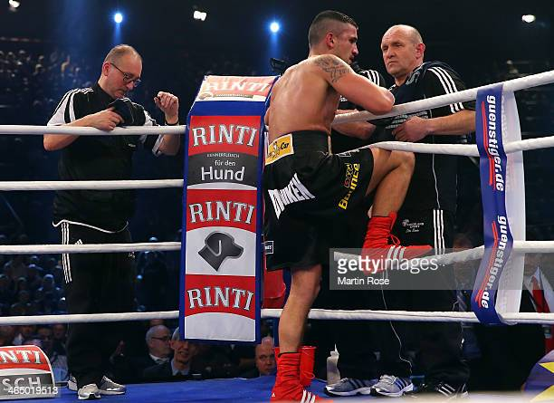 Marcos Nader of Austria looks dejected after the middle weight fight on January 25 2014 in Stuttgart Germany