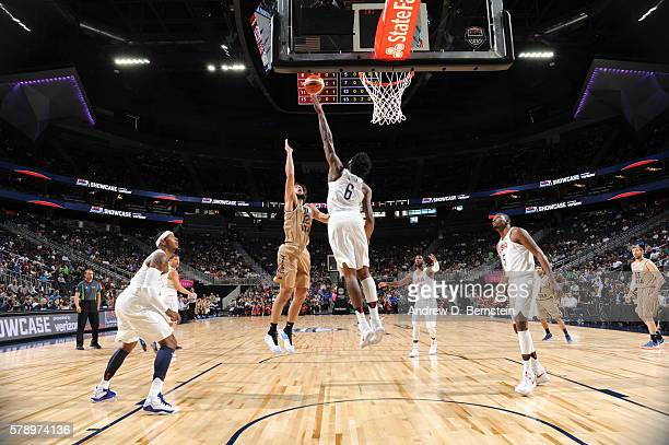 Marcos Nicolas Delia of Argentina shoots the ball against DeAndre Jordan of the USA Basketball Men's National Team on July 22 2016 at TMobile Arena...