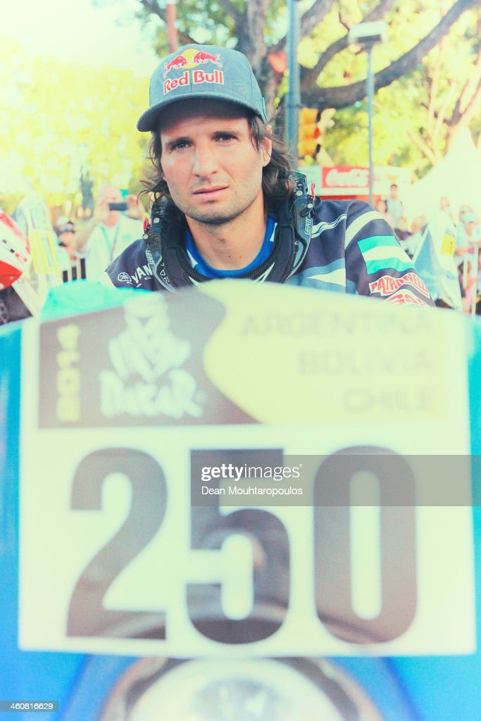 Marcos Patronelli of Argentina and Yamaha Racing Argentina poses before he makes his way to the official podium during the 2014 Dakar Rally Previews on January 4, 2014 in Rosario, Argentina.
