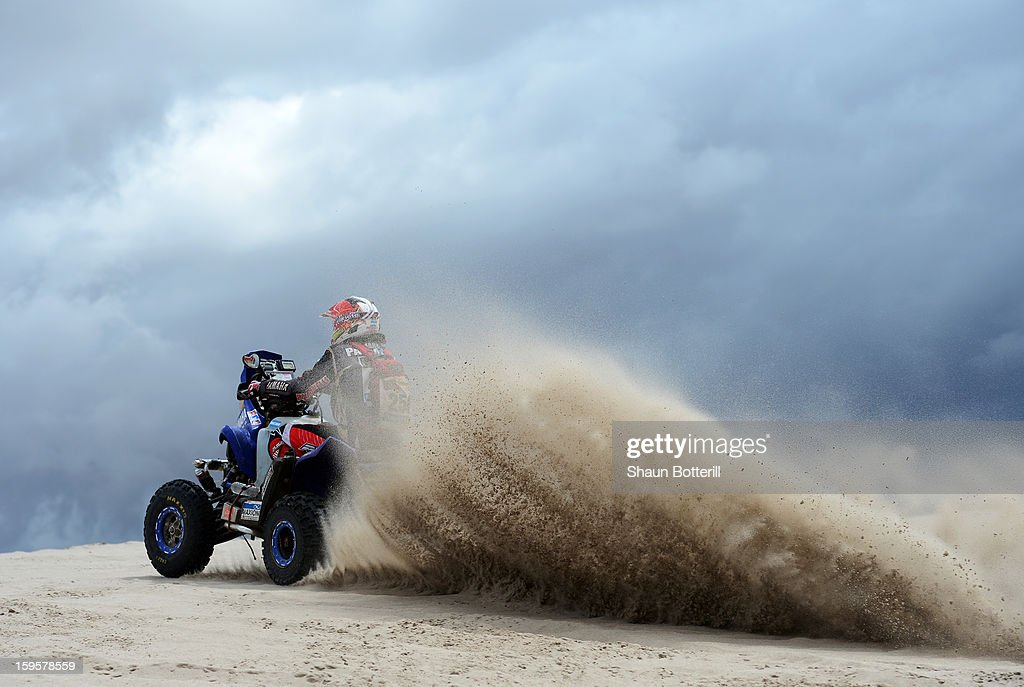 Marcos Patronelli of team Maffei Dakar competes in stage 11 from La Rioja to Fiambala during the 2013 Dakar Rally on January 16, 2013 in La Rioja, Argentina.