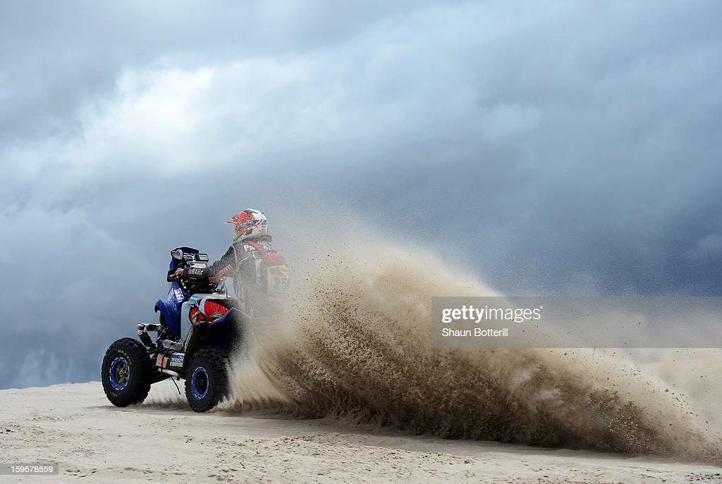 Marcos Patronelli of team Maffei Dakar competes in stage 11 from La Rioja to Fiambala during the 2013 Dakar Rally on January 16, 2013 in La Rioja, Argentina.