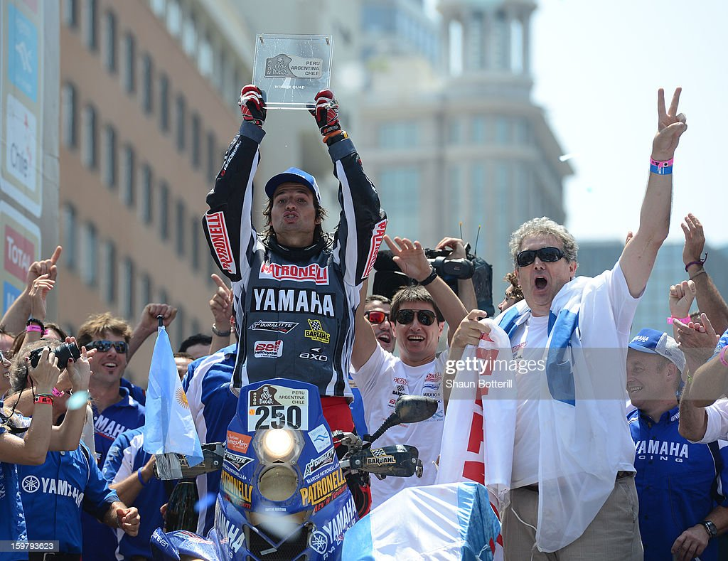 Marcos Patronelli of Yamaha Argentina, 1st place in Quads, celebrates during the podium presentations at the end of the 2013 Dakar Rally on January 20, 2013 in Santiago, Chile.