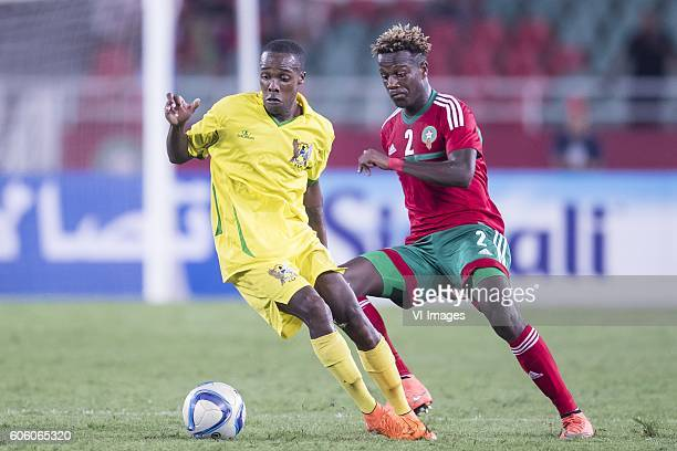 Marcos Paulo L Barbeiro of Sao Tome e Principe Hamza Mendyl of Morocco during the Africa Cup of Nations match between Morocco and Sao Tome E Principe...