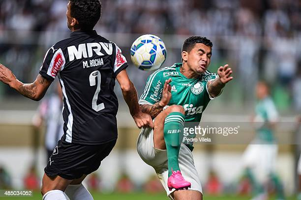 Marcos Rocha of Atletico MG and Dudu of Palmeiras battle for the ball during a match between Atletico MG and Palmeiras as part of Brasileirao Series...