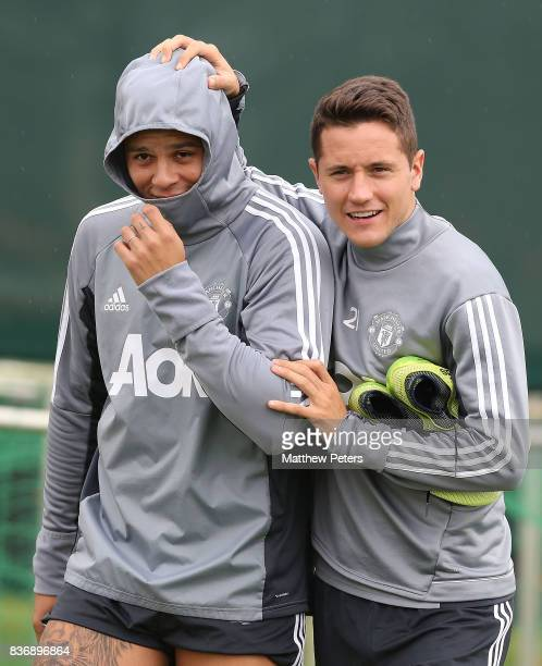 Marcos Rojo and Ander Herrera of Manchester United in action during a first team training session at Aon Training Complex on August 22 2017 in...