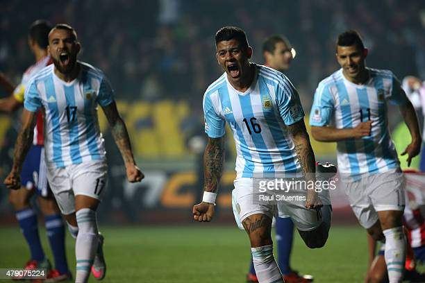 Marcos Rojo of Argentina celebrates after scoring the opening goal during the 2015 Copa America Chile Semi Final match between Argentina and Paraguay...