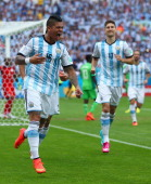 Marcos Rojo of Argentina celebrates scoring his team's third goal during the 2014 FIFA World Cup Brazil Group F match between Nigeria and Argentina...