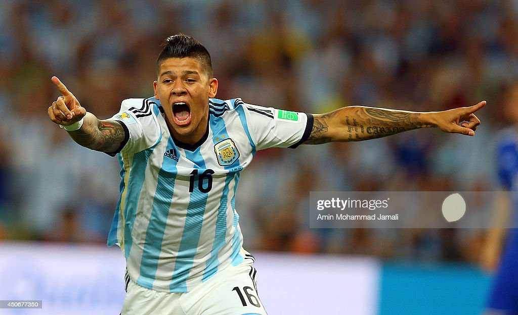 <a gi-track='captionPersonalityLinkClicked' href=/galleries/search?phrase=Marcos+Rojo&family=editorial&specificpeople=6740047 ng-click='$event.stopPropagation()'>Marcos Rojo</a> of Argentina celebrates their team's first goal during the 2014 FIFA World Cup Brazil Group F match between Argentina and Bosnia-Herzegovina at Maracana on June 15, 2014 in Rio de Janeiro, Brazil.