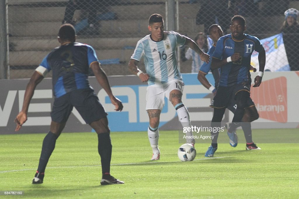Marcos Rojo of Argentina in action during a friendly game between Argentina and Honduras at Bicentenario stadium in San Juan, Argentina on May 27, 2016.