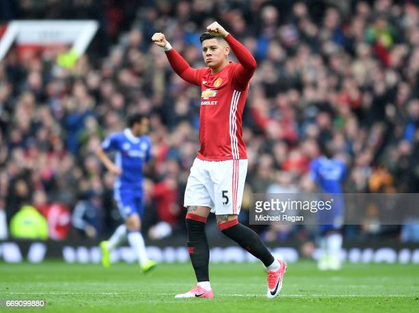 Marcos Rojo of Manchester United celebrates after Marcus Rashford of Manchester United scored Manchester United's first goal during the Premier...